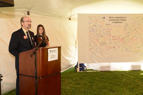 President VanWagner giving speech at College Completion