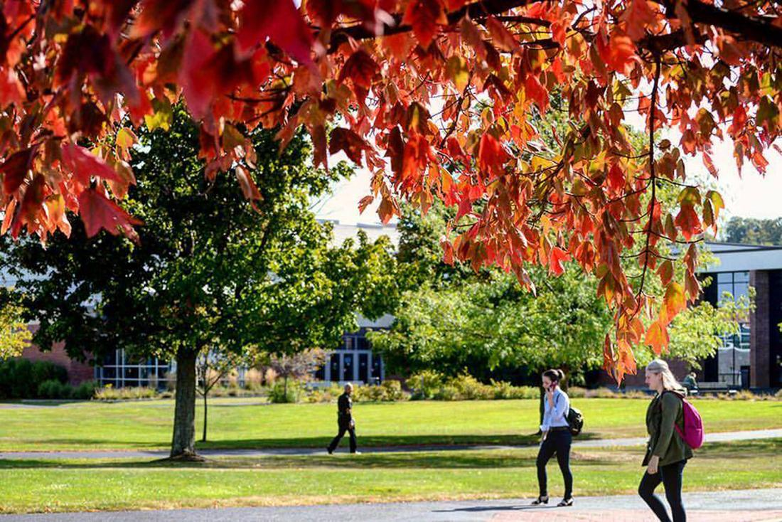 Utica Campus in the fall with red leaves