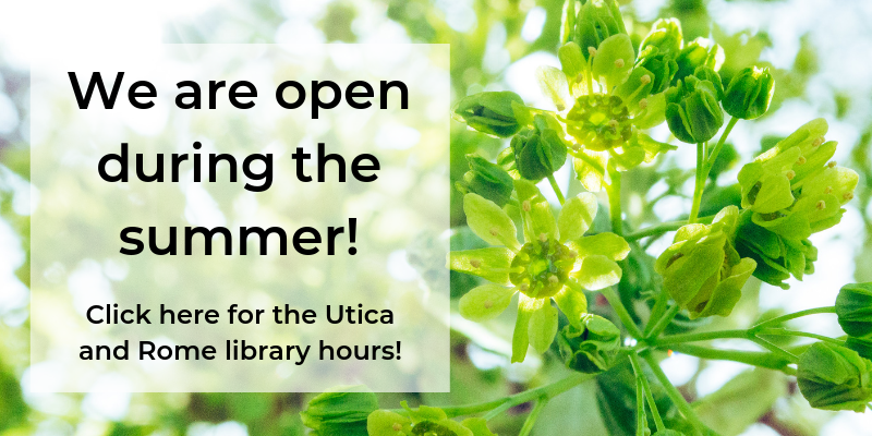 We are open during the summer! Click for library hours