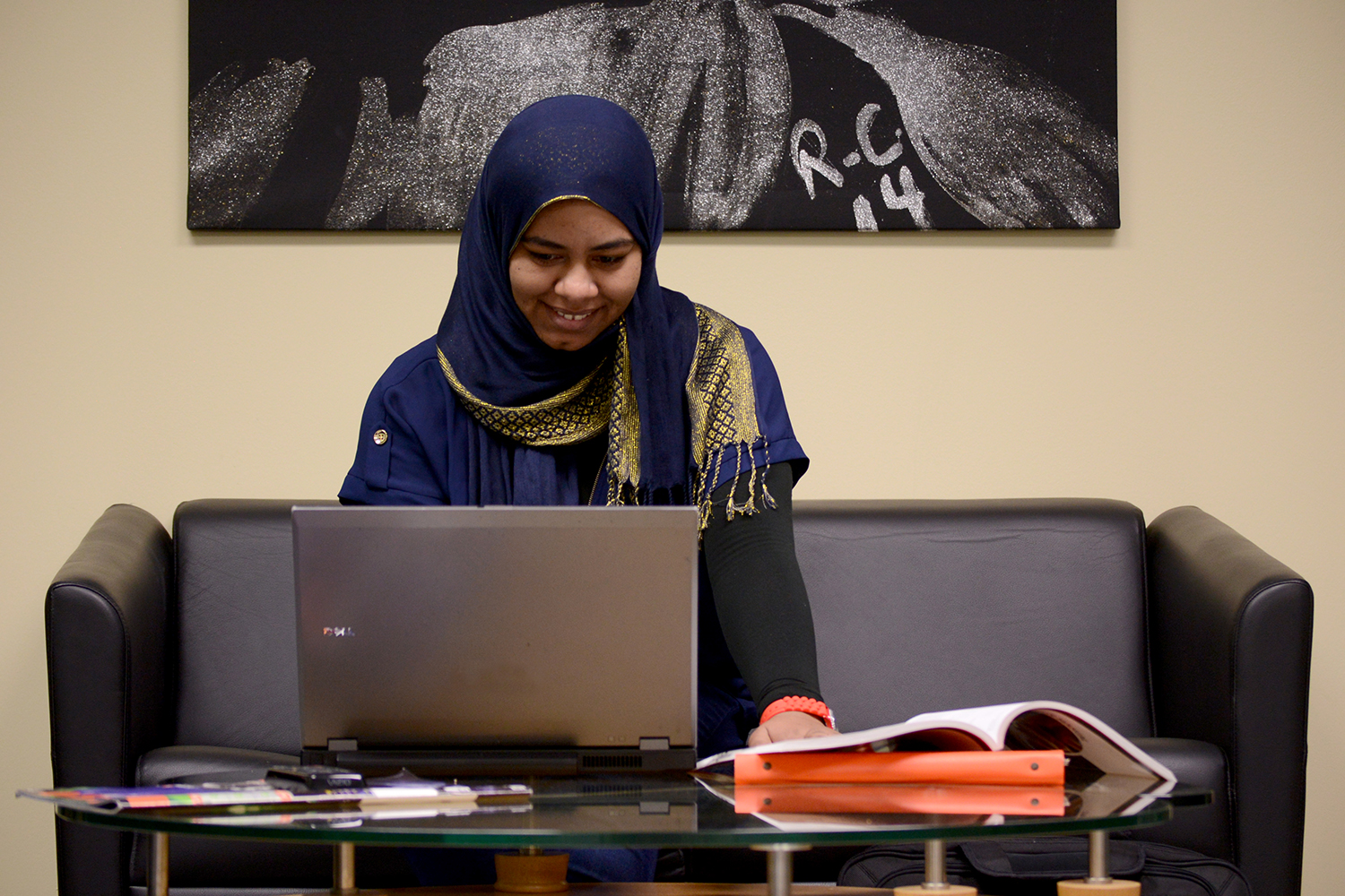 Student working on computer for health information technology