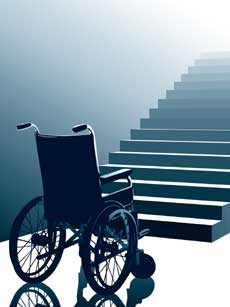 Empty wheelchair in front of stairs