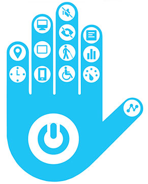 hand print with various disability related accessibility icons and a computer start button in the palm